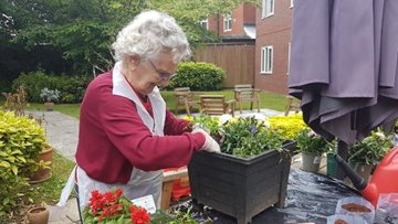 Newcastle Upon Tyne care home Residents enjoy a spot of gardening