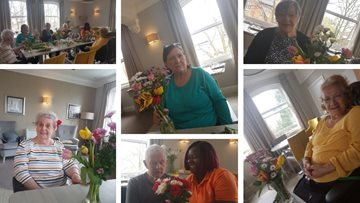 Residents enjoy blooming good day flower arranging at Stockport care home