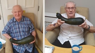 Vegetable patch delivers giant courgette at Surrey care home