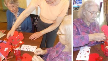Valentine's crafts at Essex care home