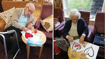 Residents enjoy Valentine's craft afternoon at The Beeches