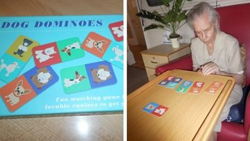 Wigston care home Residents play dog dominoes