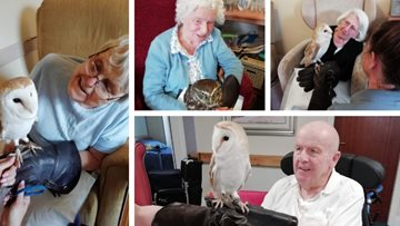 Hollymere House Residents have a hoot as they welcome feathery friends to the home