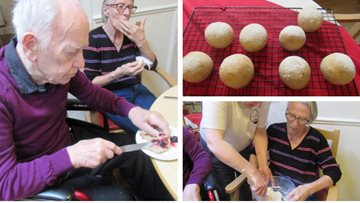 Residents enjoy bread-making lesson at Harley Grange