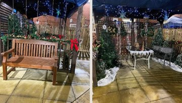 Manchester care home revamp garden with beautiful Christmas decorations