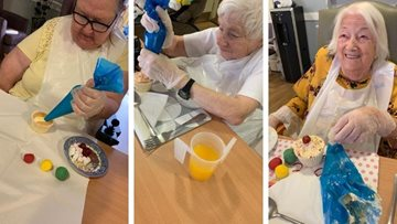 Children in Need cake decorating at Derby care home