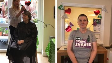 Overdene House manager braves the shave at mad hatters coffee morning