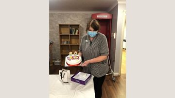 Colleague celebrates birthday at Dartford care home