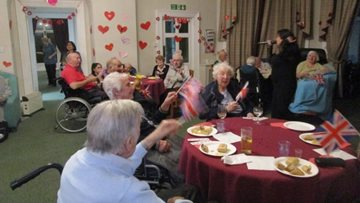 Residents celebrate the day of love at Leeds care home