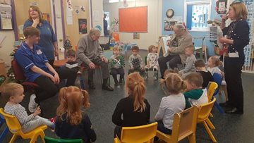Sunny Days Nursery visit brightens Roseberry Court Residents Monday