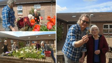 Residents enjoy a spot of gardening in the sun