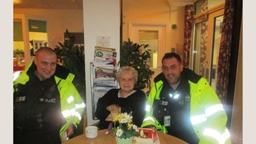 Radcliffe care home receives friendly visit during coffee morning