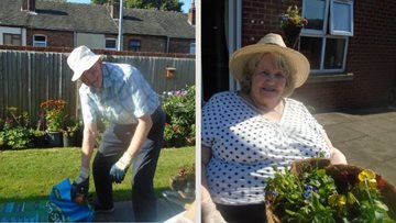 Sunny day for gardening at Longport care home