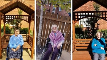 Tameside care home Residents enjoy sunny sit in the garden