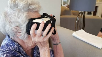 Resident's at Eastbourne House reminisce with virtual reality