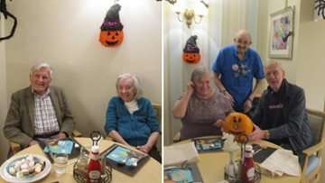 Residents enjoy a bonfire buffet night at Highfield
