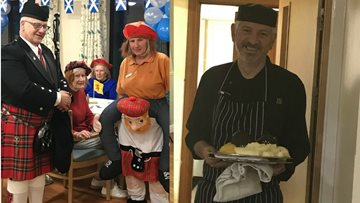 Residents at Llys Newydd celebrate Burns Night