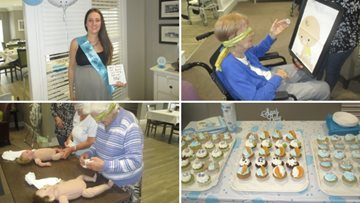 Residents treat Care Assistant to a baby shower
