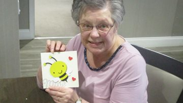 Residents get creative at Grampian Court with Valentine's craft session