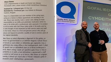 QSA Award success for Colleague at Ammanford care home