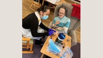 Manchester care home Residents enjoy pamper session