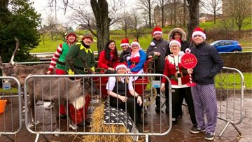Santa and his reindeer visit Glasgow care home