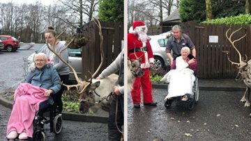 Reindeer visit Cumbernauld care home