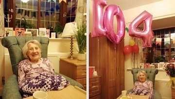 Surrey care home Resident celebrates 104th birthday