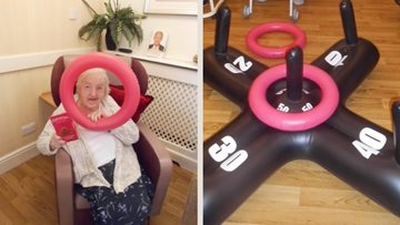 Nottingham care home Residents enjoy a fun game of Hoopla