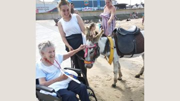 Redcar care home Resident enjoys sunshine at the seafront