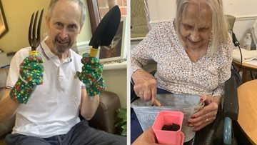 Green fingered Residents enjoy afternoon of gardening at Mitcham care home