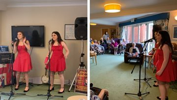 Sister duo performs at Wigan care home