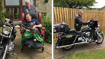 Biker's birthday surprise at Dundee care home