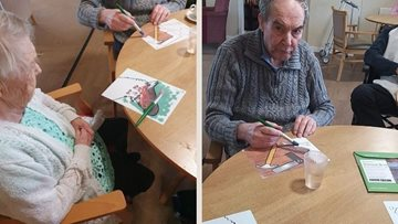 Arbroath care home Residents enjoy relaxing painting morning