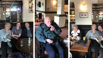 Huddersfield care home Residents take a trip to the pub