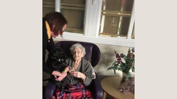 Furry friend visits Lostock Gralam care home