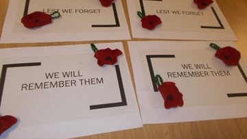 Durham care home Residents craft handmade poppies for Rememberance Day