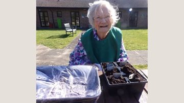 Gardening fun for Harefield care home Resident