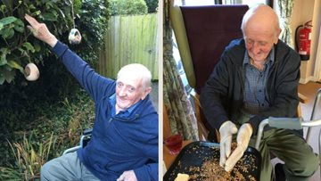 Boston care home Resident enjoys feeding the birds
