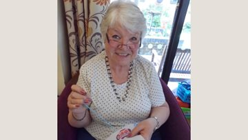 Cross stitching fun at Sherwood care home