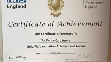 The Denby celebrates Gold Flu Vaccination Achievement Award