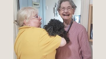 Four-legged friend visits Newcastle care home