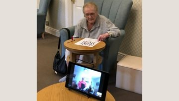 Grimsby care home Residents enjoy a crossword over Zoom