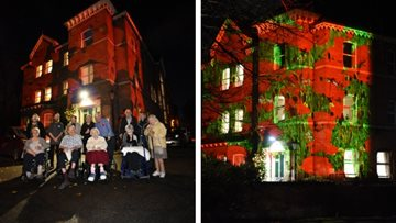 Care home lit up for Remembrance event