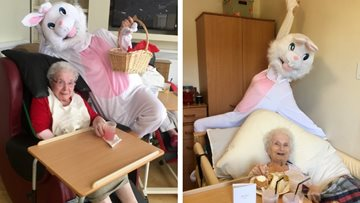 Bridgend care home welcomes special visit from the Easter Bunny