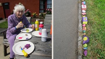 Ayr care home Residents help local children paint four-mile community caterpillar