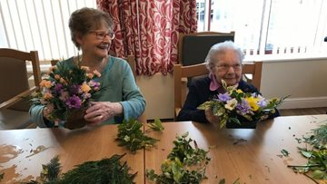 Flower arranging brightens up the day at Cherry Willingham care home