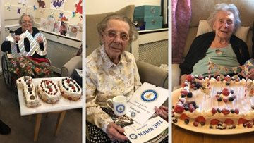 Three special ladies at Brixworth care home have birthdays and anniversaries