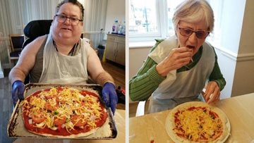 Newcastle care home Residents create personalised pizzas on National Pizza Day