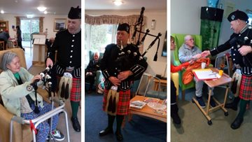Bagpipe Burns Night celebrations at Blackburn care home